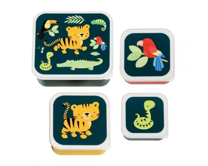 A Little Lovely Company Lunch Box 4x Set Δοχεία Φαγητού - Jungle Tiger