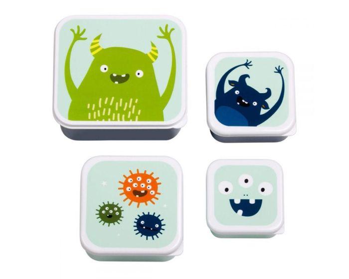 A Little Lovely Company Lunch Box 4x Set Δοχεία Φαγητού - Monsters