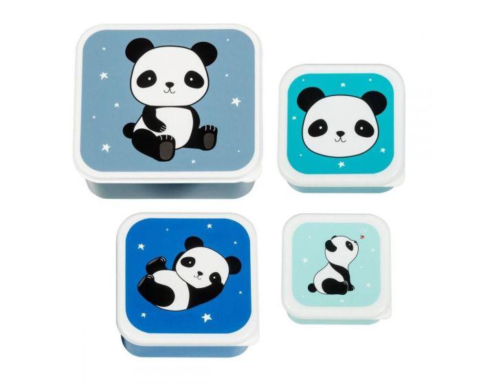 A Little Lovely Company Lunch Box 4x Set Δοχεία Φαγητού - Panda