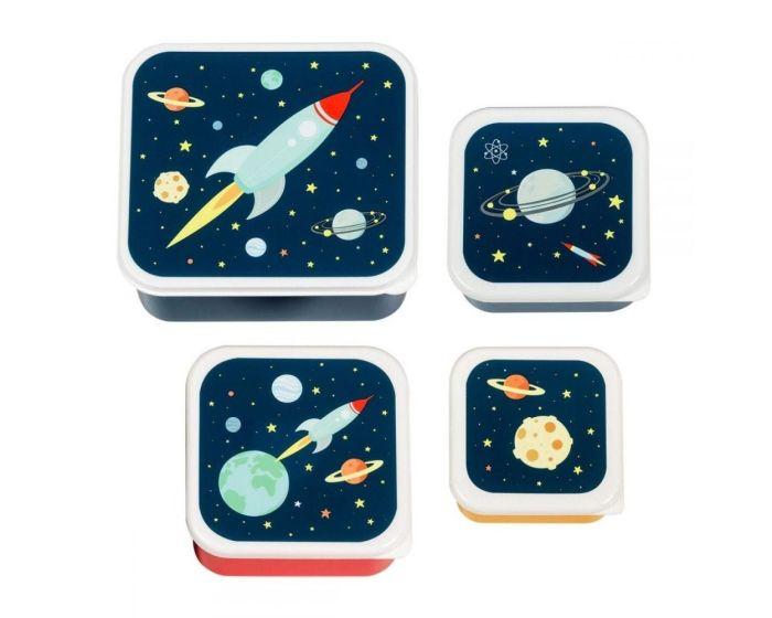 A Little Lovely Company Lunch Box 4x Set Δοχεία Φαγητού - Space
