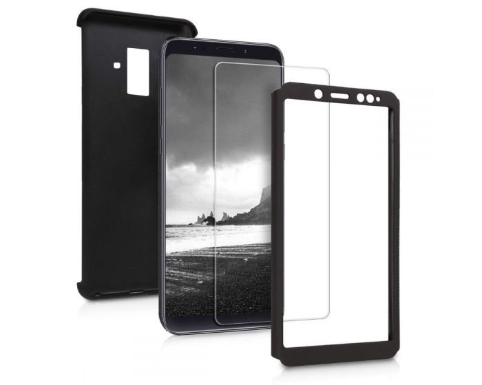 360 Full Cover Case & Tempered Glass - Black (Samsung Galaxy A8 Plus 2018)