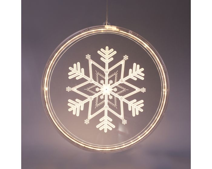 ACA 3D Acryllic Snowflake 36 Led Διακοσμητικό Ακρυλικό Νιφάδα Χιονιού - Warm White