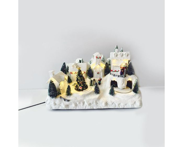 ACA Led Village with Motion and Music (X0311) Χριστουγεννιάτικο Χωριό - Warm White