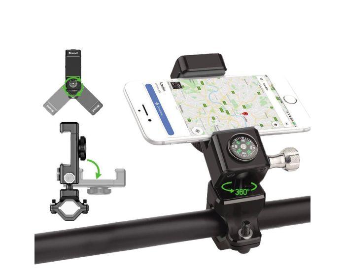 Adjustable Phone Bike Mount Holder Βάση Στήριξης Ποδηλάτου με Πυξίδα - Black