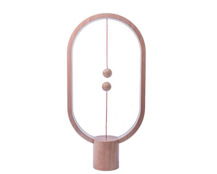 Allocacoc Heng Balance Wooden Lamp Ellipse Φωτιστικό με Πρωτότυπο Διακόπτη από Μαγνήτες - Light Wood