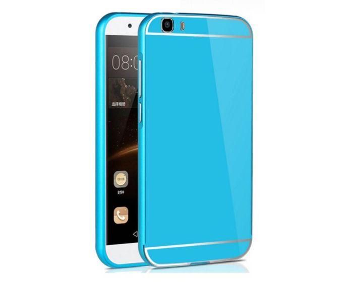 Aluminum Bumper & Back Mirror Cover - Blue (Huawei Ascend G7)