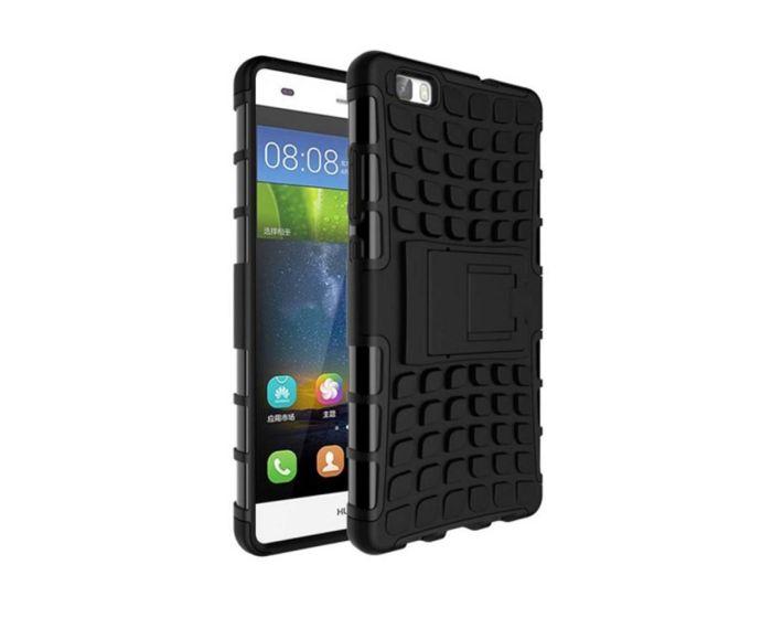 Shockproof Case Ανθεκτική Θήκη με Δυνατότητα Stand Μαύρη (Huawei Ascend P8 Lite)