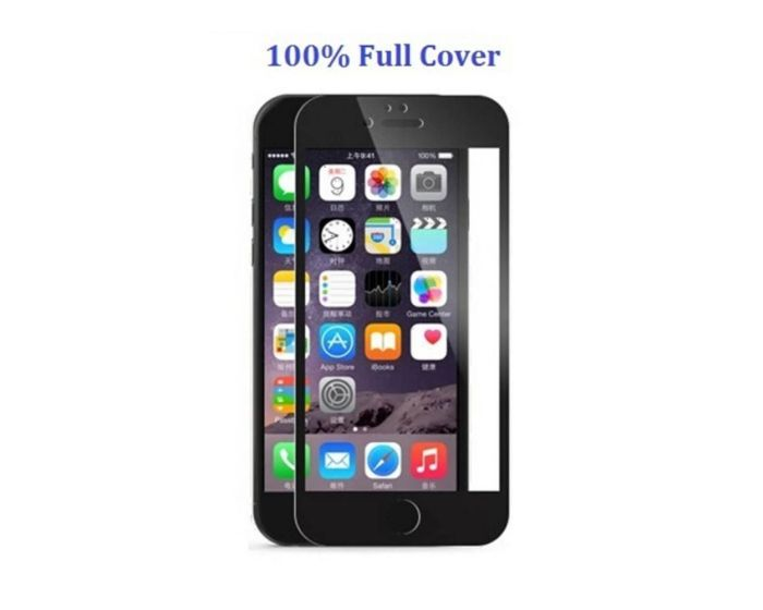 Full Glue Full Face Αντιχαρακτικό Γυάλινο Προστατευτικό Πλήρους Οθόνης 9H - 2.5D Tempered Glass Screen Protector Black (iPhone 6 / 6s)