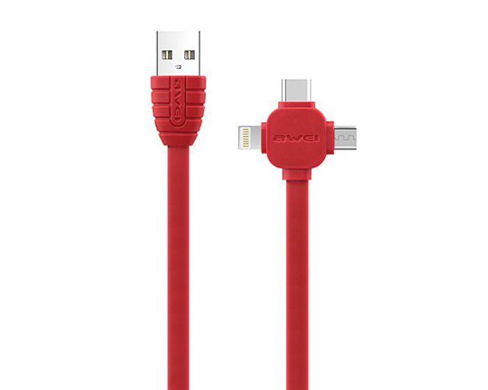 Awei CL-82 Cable 3in1 Καλώδιο Φόρτισης Micro USB / Lightning / Type-C 2A 1m - Κόκκινο