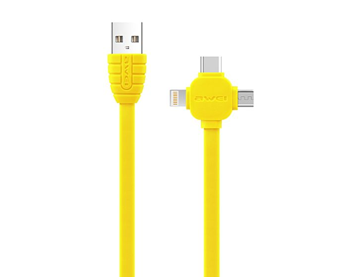 Awei CL-82 Cable 3in1 Καλώδιο Φόρτισης Micro USB / Lightning / Type-C 2A 1m - Κίτρινο