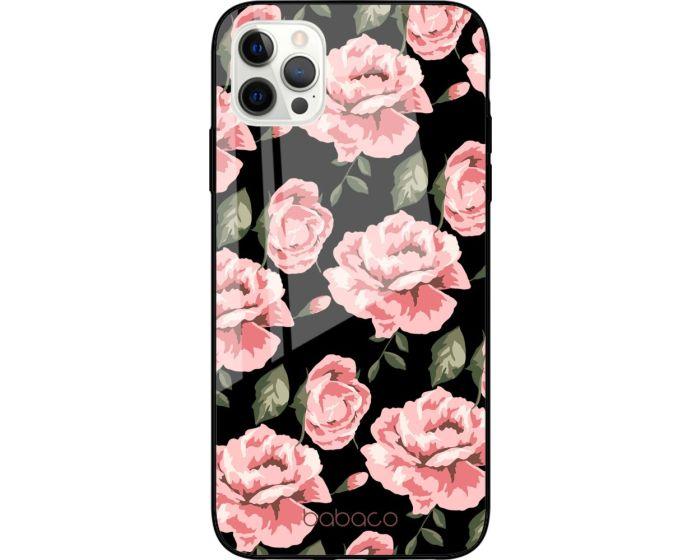 Babaco Premium Glass TPU Case Flower Black (iPhone 12 Pro Max)