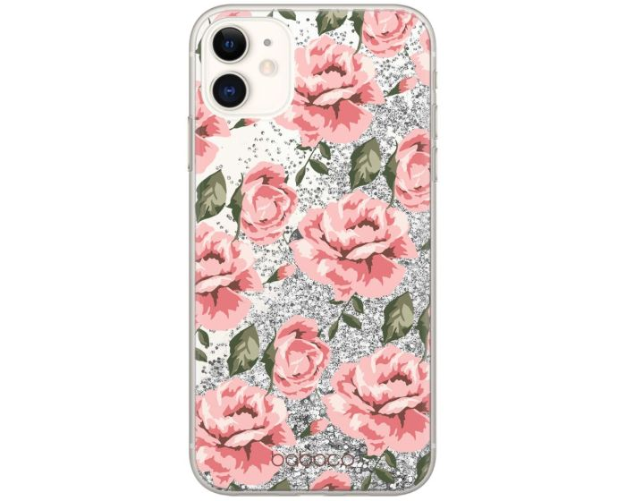 Babaco Liquid Glitter Flower Case Θήκη με Χρυσόσκονη Silver (iPhone 12 / 12 Pro)