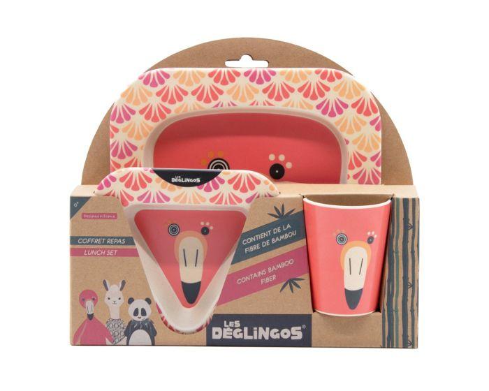 Les Deglingos Bamboo Meal Set 3τμχ Σετ Φαγητού Φλαμίνγκο - Flamingos
