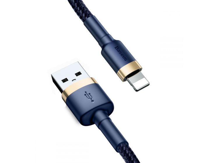 Baseus Cafule Braided Καλώδιο Φόρτισης και Μεταφοράς Δεδομένων 1.5A Lightning 2m Blue / Gold