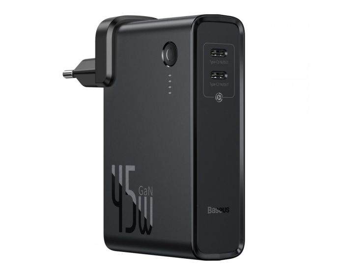 Baseus GaN Power Bank + Wall Charger (PPNLD-F01) 10000mAh 45W 2x Type-C QC 3.0 + 1m Type-C Cable - Black