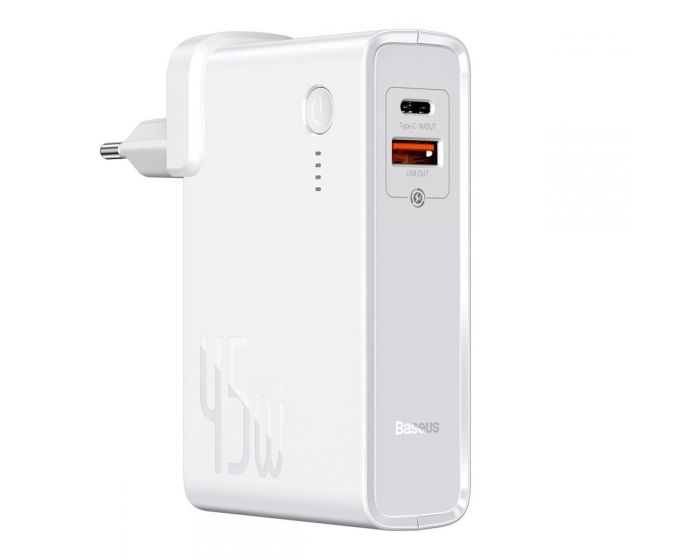 Baseus GaN Power Bank + Wall Charger (PPNLD-C02) 10000mAh 45W USB / Type-C QC 3.0 + 1m Type-C Cable - White