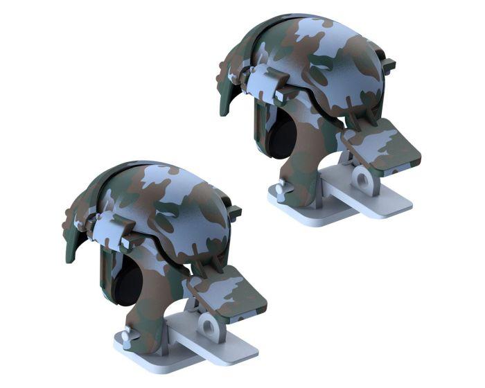 Baseus Level 3 Helmet PUBG Handle Extra Buttons Scoring Tool (GMGA03-A03) Gaming Κουμπιά για Smartphone Camo Blue