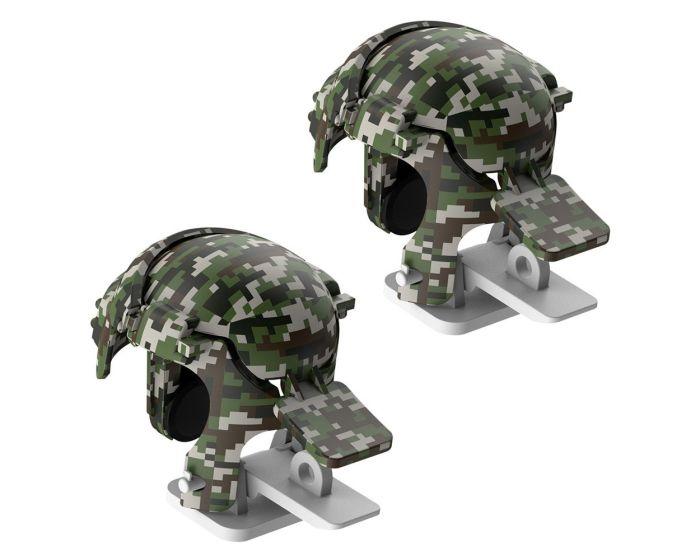 Baseus Level 3 Helmet PUBG Handle Extra Buttons Scoring Tool (GMGA03-A0G) Gaming Κουμπιά για Smartphone Camo Gray