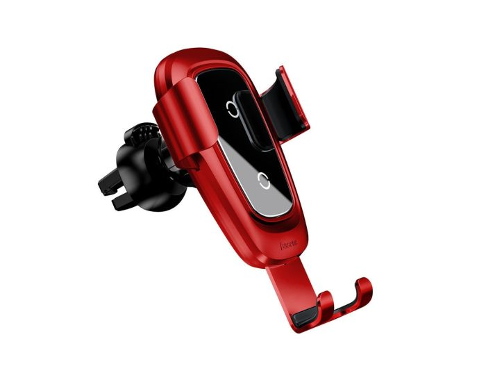 Baseus Metal Qi Wireless Fast Charger Air Vent Gravity Car Mount Red