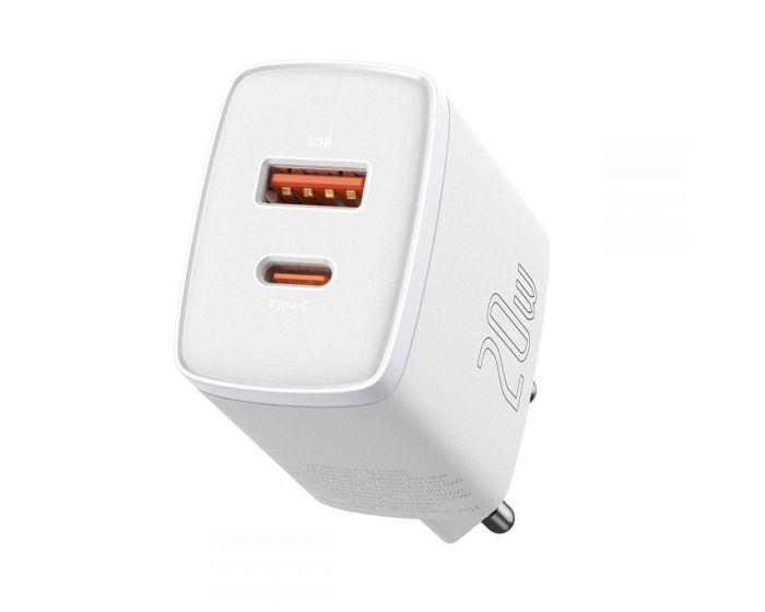 Baseus 2-Port Network Charger (CCXJ-B02) 20W USB / Type-C QC 3.0 PD - White