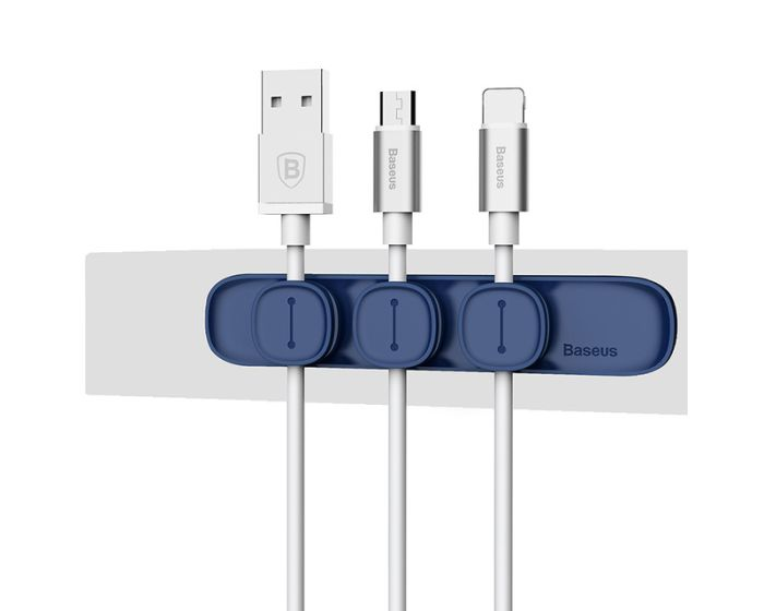 Baseus Peas Magnetic Cable Organizer Clips (ACWDJ-03) Σετ Οργάνωσης Καλωδίων Blue