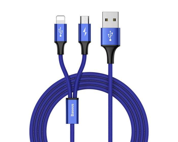 Baseus Rapid 2in1 USB to Lightning / micro USB (CAML-SU13) 3A Καλώδιο Φόρτισης 1.2m Blue