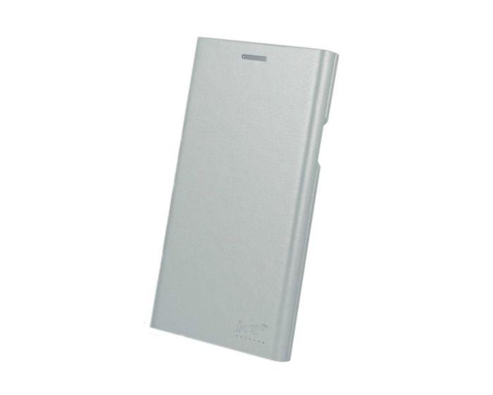 Beeyo Book Grande Wallet Case Θήκη Πορτοφόλι με Stand - Silver (Huawei Mate 10 Lite)