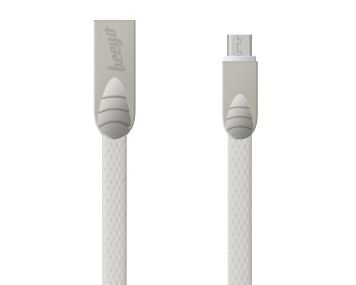 Beeyo Flat Cable Micro USB Data Sync & Charging 2A 1m White