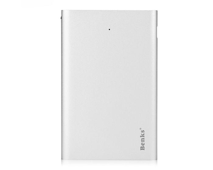 Benks E300A Μεταλλική Εξωτερική Μπαταρία Slim Power Bank 3000mAh - Silver