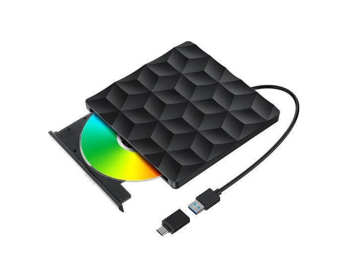 BlitzWolf BW-VD1 USB 3.0 / USB-C External CD / DVD Burner - Black
