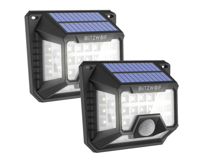 Blitzwolf External LED Solar Lamp with Dusk and Motion Sensor 2 Τεμάχια (BW-OLT3) Black