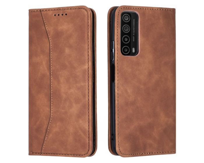 Bodycell PU Leather Book Case Θήκη Πορτοφόλι με Stand - Brown (Huawei P Smart 2021)