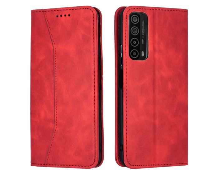 Bodycell PU Leather Book Case Θήκη Πορτοφόλι με Stand - Red (Huawei P Smart 2021)