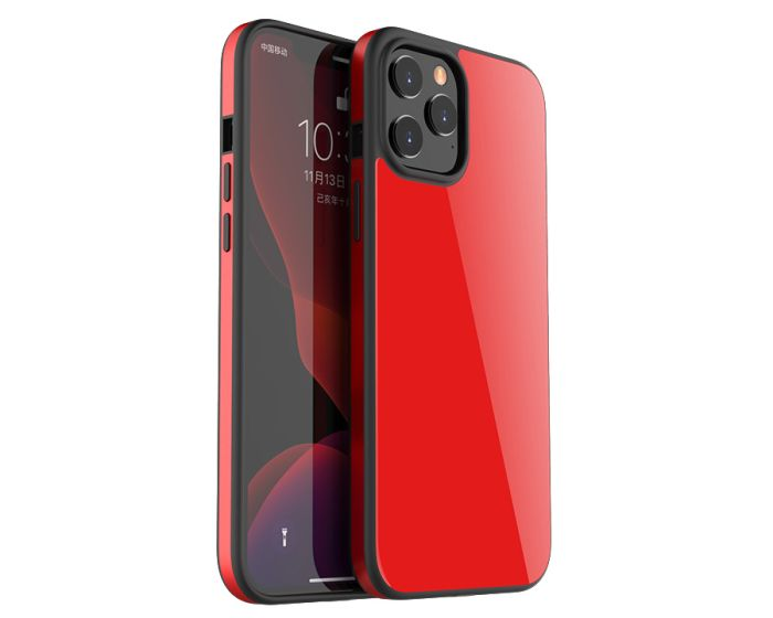 Bodycell Glass Back Aluminium Bumper Case Red (iPhone 12 Pro Max)