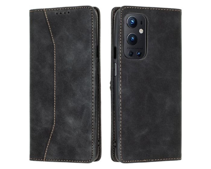 Bodycell PU Leather Book Case Θήκη Πορτοφόλι με Stand - Black (OnePlus 9 Pro)