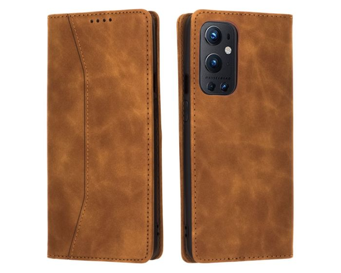 Bodycell PU Leather Book Case Θήκη Πορτοφόλι με Stand - Brown (OnePlus 9 Pro)