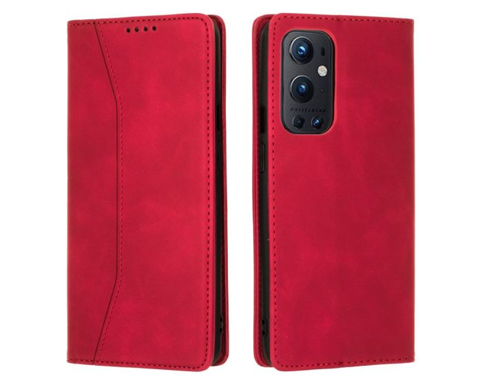 Bodycell PU Leather Book Case Θήκη Πορτοφόλι με Stand - Red (OnePlus 9 Pro)