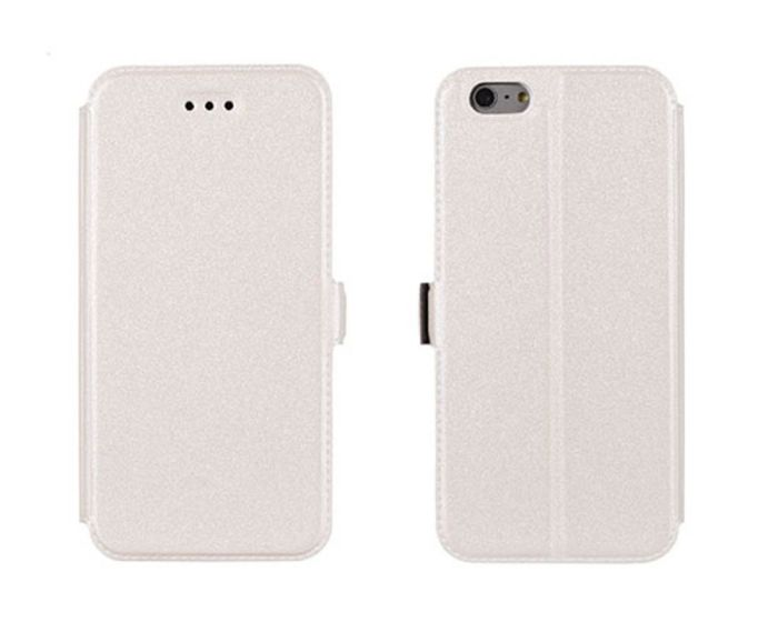 Tel1 Book Pocket Stand Case Θήκη Πορτοφόλι Λευκή (Sony Xperia E4G)