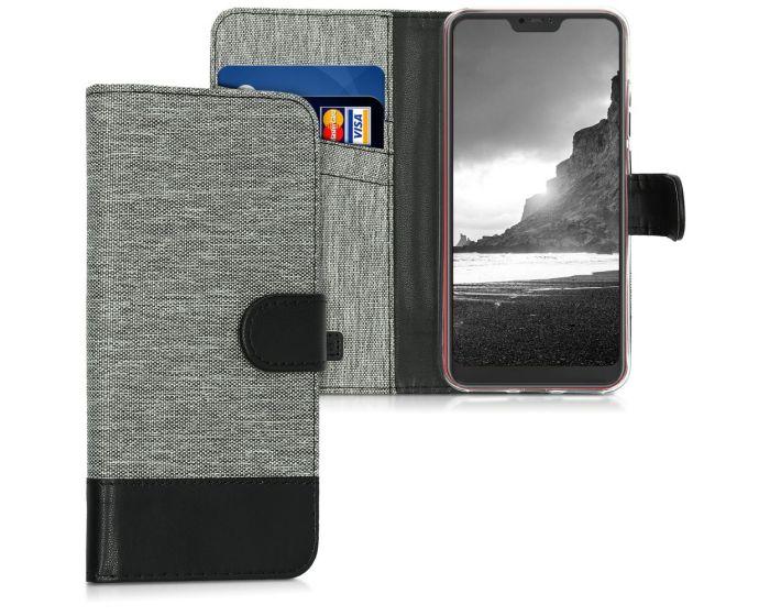 KWmobile Canvas Wallet Case (45619.22) Θήκη Πορτοφόλι με δυνατότητα Stand Grey / Black (Xiaomi Mi A2 Lite / Redmi 6 Pro)