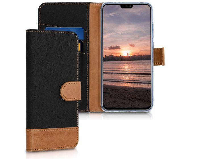 KWmobile Canvas Wallet Case (46347.01) Θήκη Πορτοφόλι με δυνατότητα Stand Black / Brown (Huawei Honor 8X)