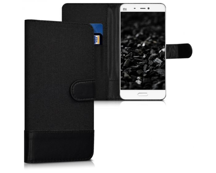 KWmobile Canvas Wallet Case (38212.73) Θήκη Πορτοφόλι με δυνατότητα Stand Black (Xiaomi Mi5)