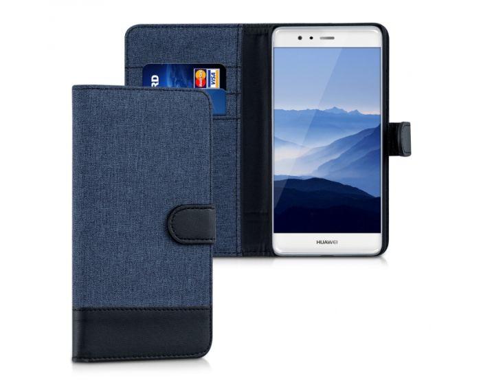 KWmobile Canvas Wallet Case (38024.17) Θήκη Πορτοφόλι με δυνατότητα Stand Blue / Black (Huawei P9 Plus)
