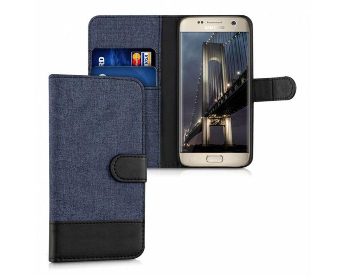 KWmobile Canvas Wallet Case (37134.17) Θήκη Πορτοφόλι με δυνατότητα Stand Dark Blue / Black (Samsung Galaxy S7)