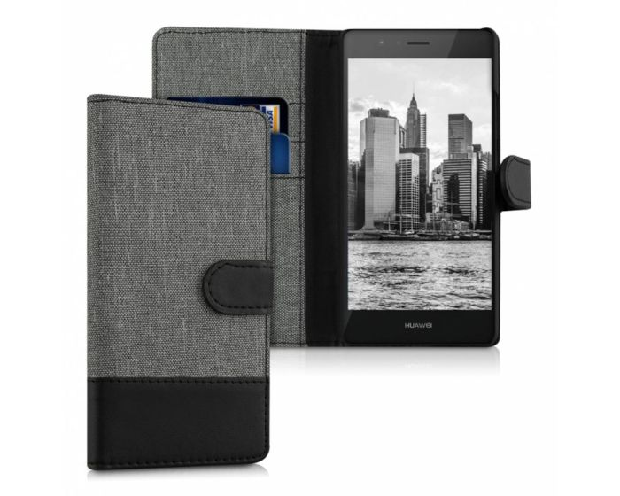 KWmobile Canvas Wallet Case (38037.22) Θήκη Πορτοφόλι με δυνατότητα Stand Grey / Black (Huawei P9 Lite)