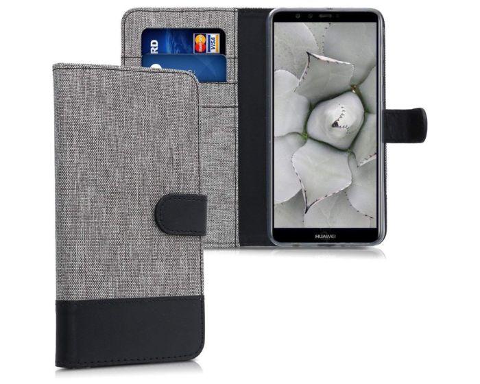 KWmobile Canvas Wallet Case (44724.01) Θήκη Πορτοφόλι με δυνατότητα Stand Grey / Black (Huawei Y9 2018)