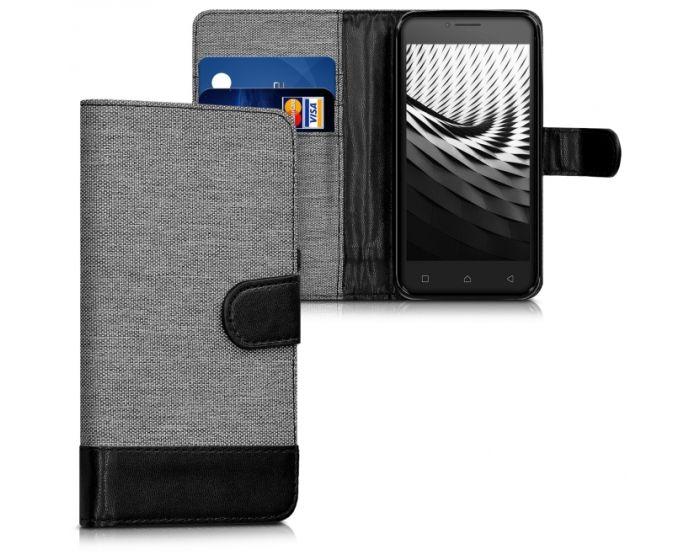 KWmobile Canvas Wallet Case (40508.01) Θήκη Πορτοφόλι με δυνατότητα Stand Gray / Black (Lenovo Vibe B)