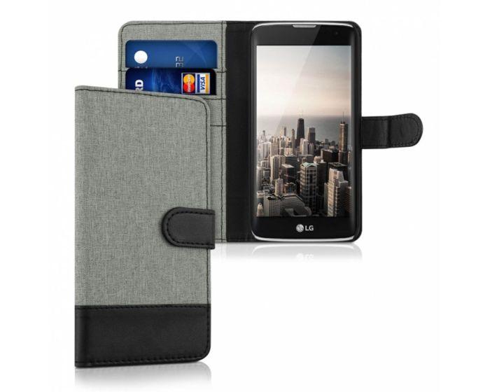 KWmobile Canvas Wallet Case (37194.22) Θήκη Πορτοφόλι με δυνατότητα Stand Gray / Black (LG K7)