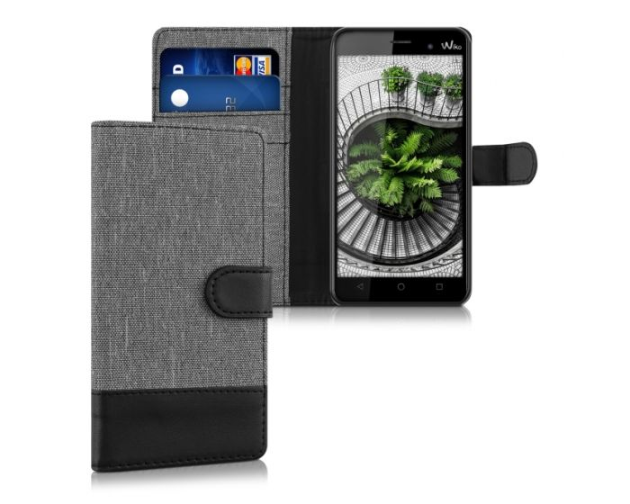 KWmobile Canvas Wallet Case (37328.22) Θήκη Πορτοφόλι με δυνατότητα Stand Gray / Black (Wiko Lenny 3)