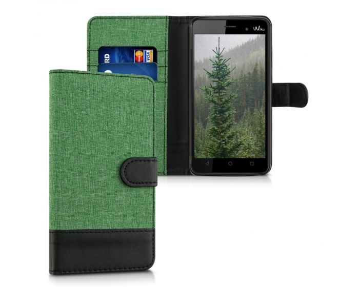 KWmobile Canvas Wallet Case (37328.71) Θήκη Πορτοφόλι με δυνατότητα Stand Green / Black (Wiko Lenny 3)
