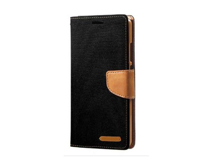 Forcell Canvas Diary Υφασματινη Θήκη Πορτοφόλι με δυνατότητα Stand Black (Samsung Galaxy J3 2017)